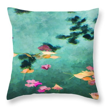 Swirling Leaves And Petals 6 Throw Pillow