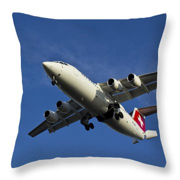 Swiss Air Bae 146 Throw Pillow by David Pyatt