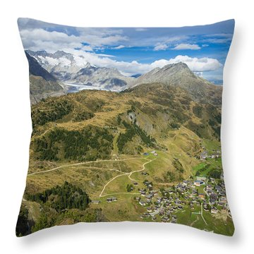 Swiss Alps Great View Towards Riederalp Aletsch Forest And Aletsch Glacier Throw Pillow by Matthias Hauser