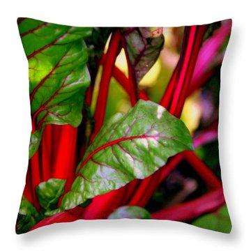 Swiss Chard Forest Throw Pillow by Karen Wiles