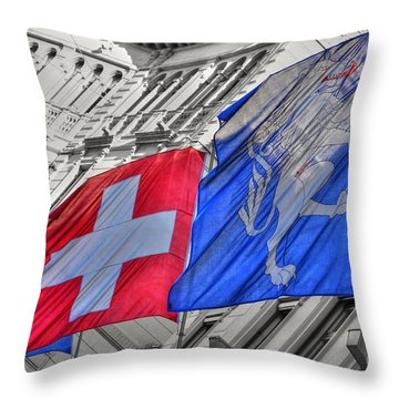 Swiss Flags  Throw Pillow by Mats Silvan