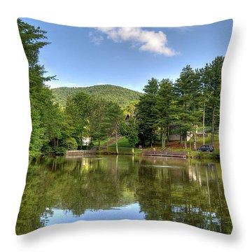 Swiss Mountain Lake Throw Pillow