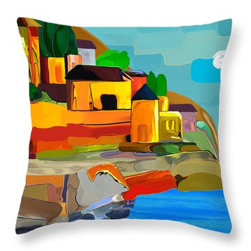Swiss Village Throw Pillow by Haleh Mahbod