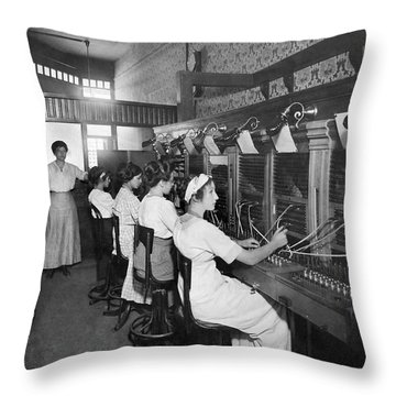 Switchboard Operators Throw Pillow by Underwood Archives