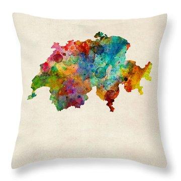Switzerland Watercolor Map Throw Pillow