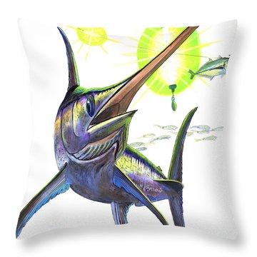 Swordfishing Throw Pillow