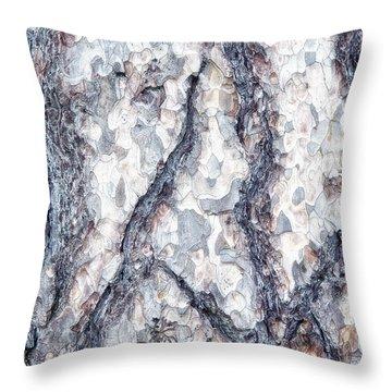 Sycamore Bark Abstract Throw Pillow