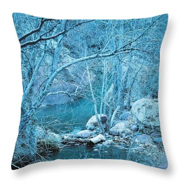 Sycamores And River Throw Pillow