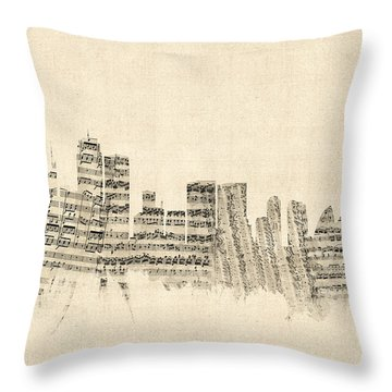 Sydney Australia Skyline Sheet Music Cityscape Throw Pillow by Michael Tompsett