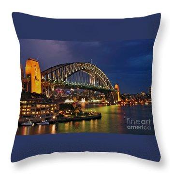 Sydney Harbour Bridge By Night Throw Pillow by Kaye Menner