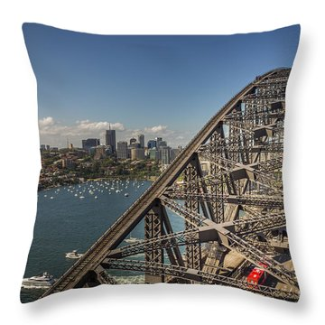 Sydney Harbour Bridge Throw Pillow by Jola Martysz