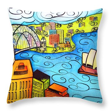 Sydney Harbour  Throw Pillow by Oiyee At Oystudio