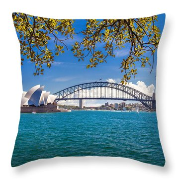 Sydney Harbour Skyline 2 Throw Pillow