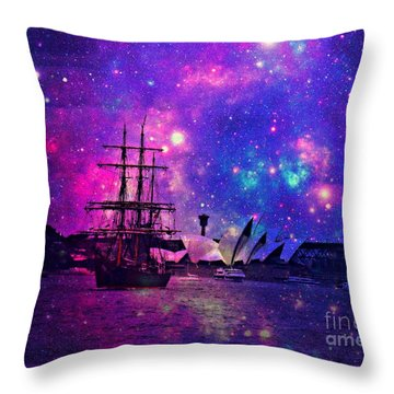Sydney Harbour Through Time And Space Throw Pillow by Leanne Seymour