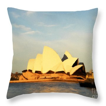 Sydney Opera House Painting Throw Pillow by Pixel Chimp