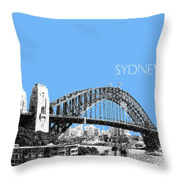 Sydney Skyline 2 Harbor Bridge - Light Blue Throw Pillow by DB Artist