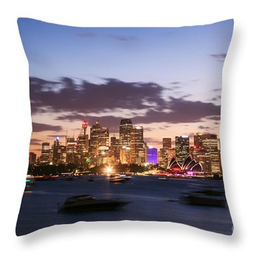 Sydney Skyline At Dusk Australia Throw Pillow by Matteo Colombo