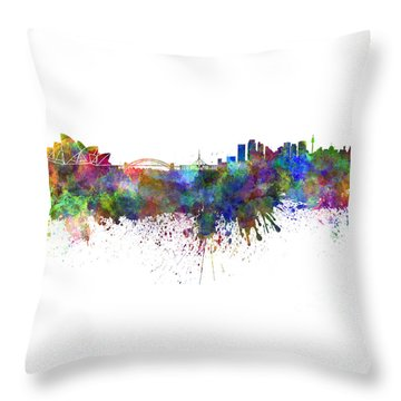 Sydney Skyline In Watercolor On White Background Throw Pillow by Pablo Romero