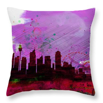Sydney Watercolor Skyline 2 Throw Pillow by Naxart Studio
