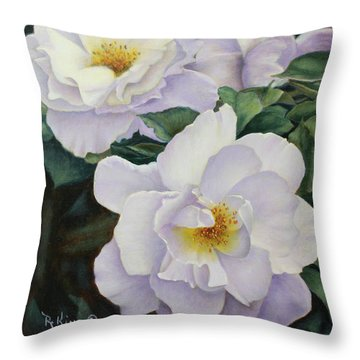 Sydneys Rose Oil Painting Throw Pillow by Roena King