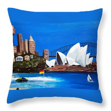 Sydneyscape - Featuring Opera House Throw Pillow by Lyndsey Hatchwell
