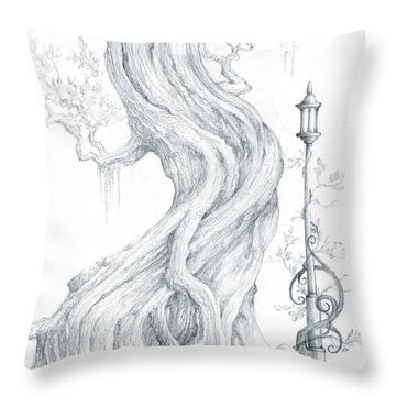Throw Pillow featuring the drawing Sylvia And Her Lamp Drawing by Curtiss Shaffer