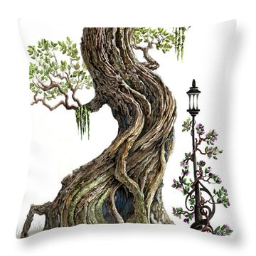 Sylvia And Her Lamp On White Throw Pillow by Curtiss Shaffer