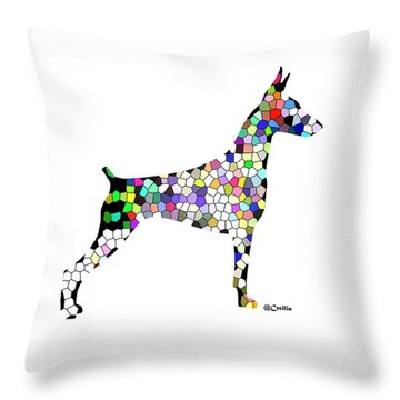 Symetry In Doberman Throw Pillow by Maria C Martinez