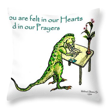 Sympathy Dinosaur Heart Felt Throw Pillow
