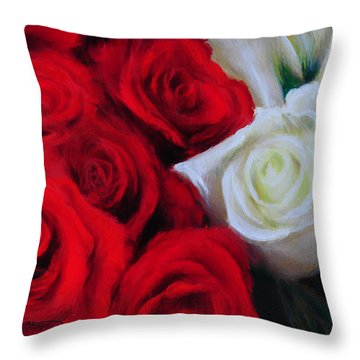 Da143 Symphony In Red And White By Daniel Adams Throw Pillow