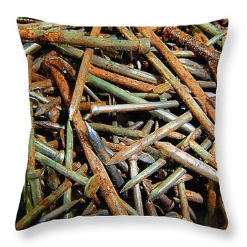Symphony In Rusty Nails Throw Pillow by RC deWinter