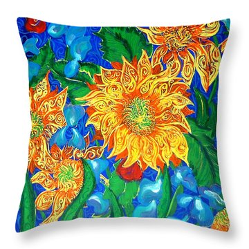 Symphony Of Sunflowers Throw Pillow
