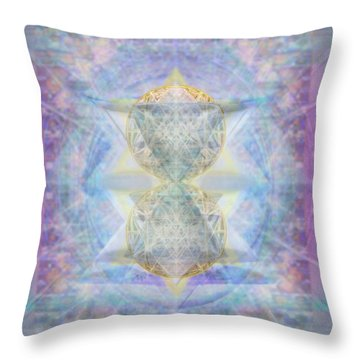 Synthecentered Doublestar Chalice In Blueaurayed Multivortexes On Tapestry Lg Throw Pillow