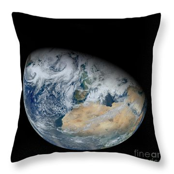 Synthesized View Of Earth Showing North Throw Pillow by Stocktrek Images