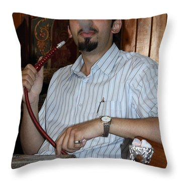 Syrian Man And Waterpipe Throw Pillow