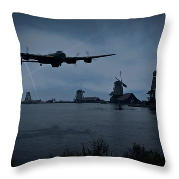 Dambusters Lancaster T For Tommy En Route To The Sorpe Throw Pillow