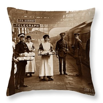 The Red Cross And St. John's Ambulance Brigade During Ww1 England Throw Pillow by The Keasbury-Gordon Photograph Archive