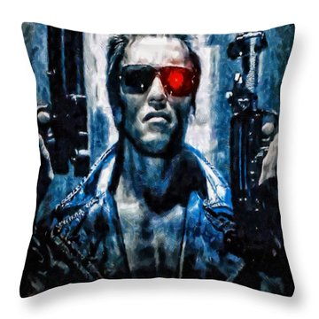 T800 Terminator Throw Pillow by Joe Misrasi