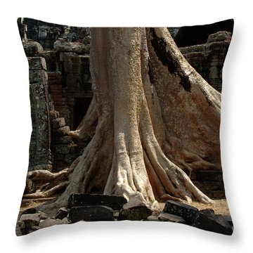 Ta Prohm Cambodia Throw Pillow by Bob Christopher