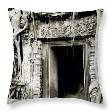 Ta Prohm Doorway Throw Pillow