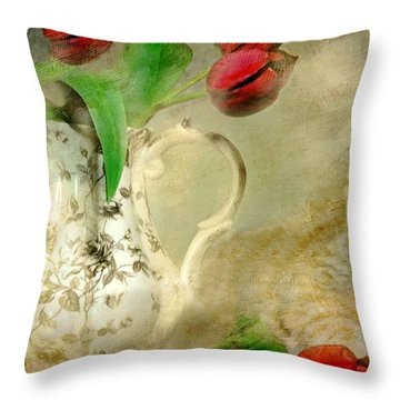 Tabby And Tulips Throw Pillow