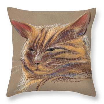 Throw Pillow featuring the pastel Tabby Cat Portrait In Pastels by MM Anderson