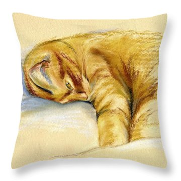 Tabby Cat Relaxed Pose Throw Pillow by MM Anderson
