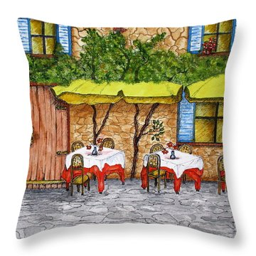 Table For Three Throw Pillow