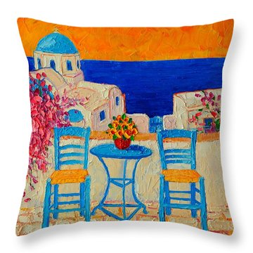 Table For Two In Santorini Greece Throw Pillow