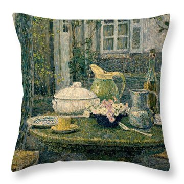 Table Laden For Spring Throw Pillow by Henry Eugene Le Sidaner