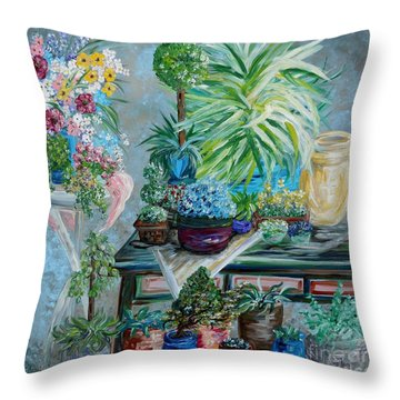 Table Of A Plant Lover Throw Pillow by Eloise Schneider