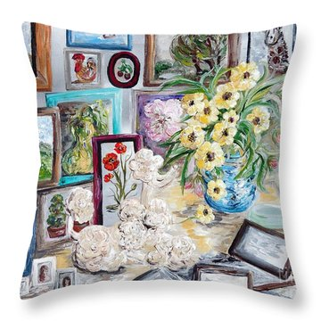 Table Of An Art Enthusiast Throw Pillow by Eloise Schneider