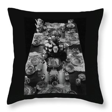 Table Settings On Dining Table Throw Pillow