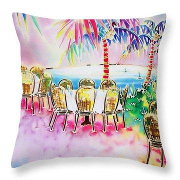 Tables On The Beach Throw Pillow